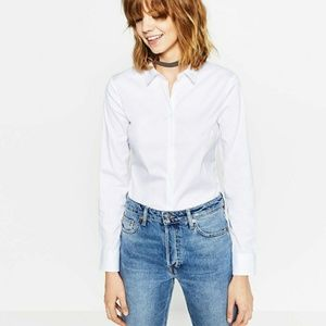 Zara white poplin button down xl